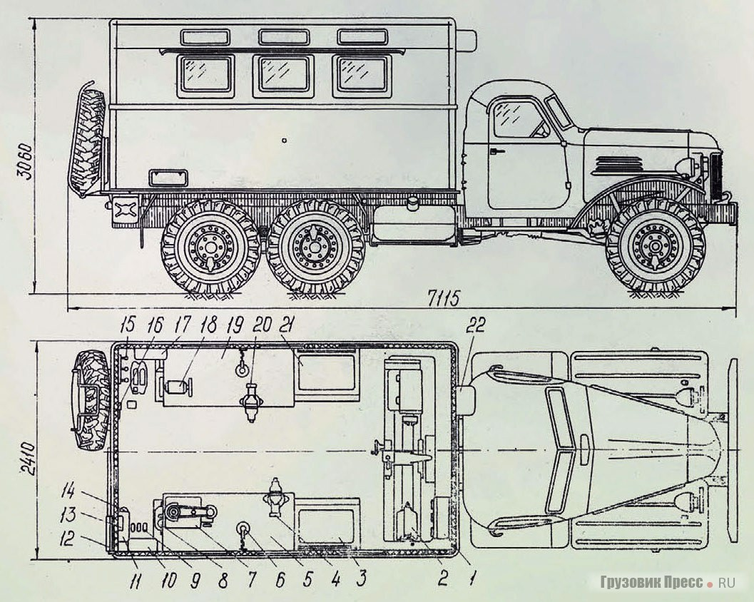 ZIL-157 shelter dimensions