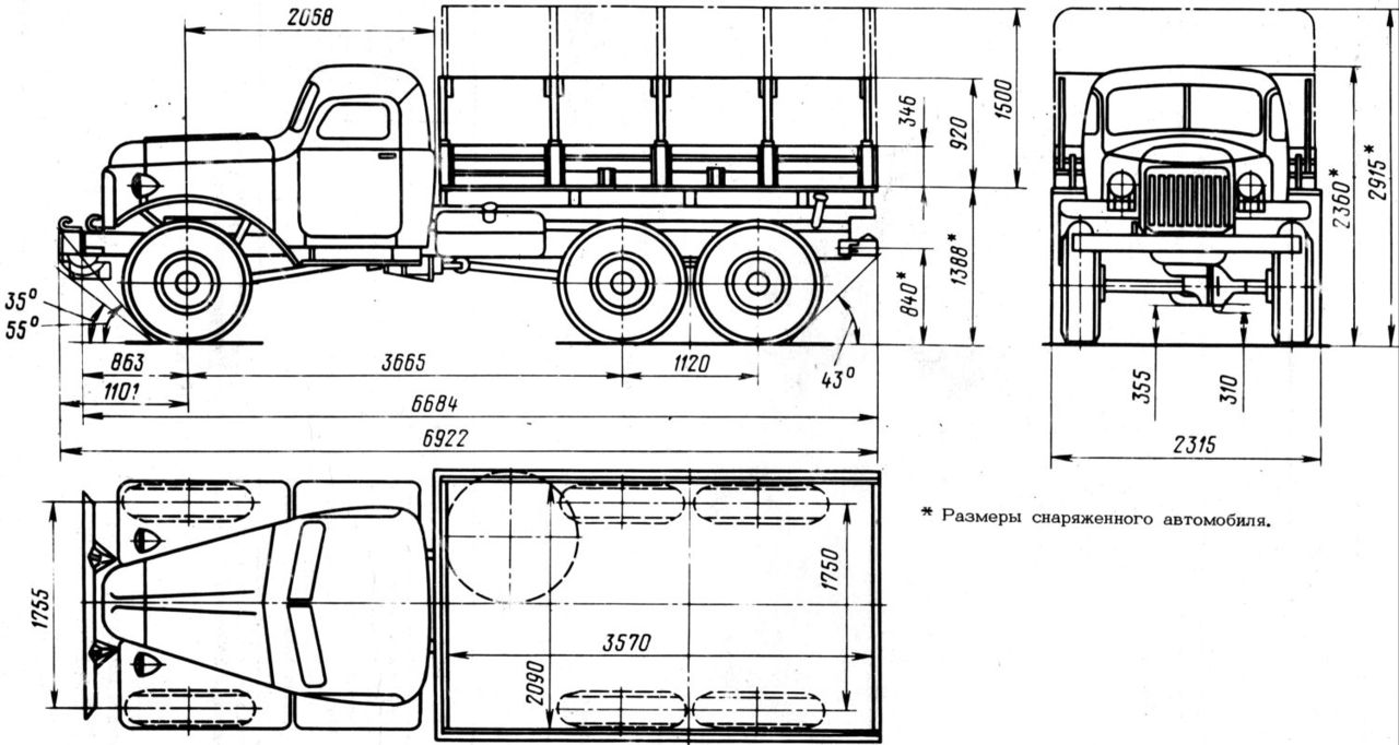 ZIL-157 flatbed dimensions