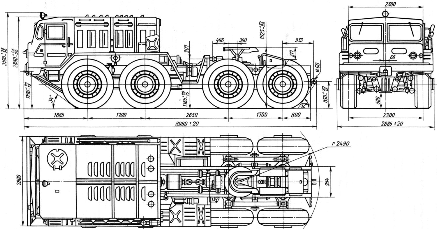 MAZ-537 dimensions drawing